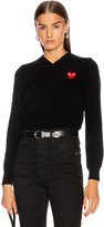 Comme des Garcons Wool Jersey Intarsia Red Emblem Sweater in Black   FWRD
