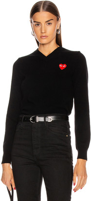 Comme des Garcons Wool Jersey Intarsia Red Emblem Sweater in Black | FWRD