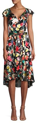 Elie Tahari Ryder Floral Silk-Blend Flounce Dress