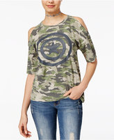 Marvel Juniors' Captain America Cold-Shoulder Camo Graphic T-Shirt