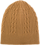 Universal Works rib and cable knit beanie hat