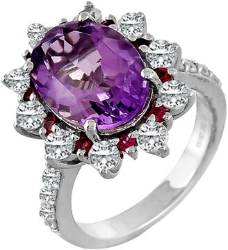 Forever Creations Usa Inc. Sterling Silver Purple Amethyst & White Topaz Ring