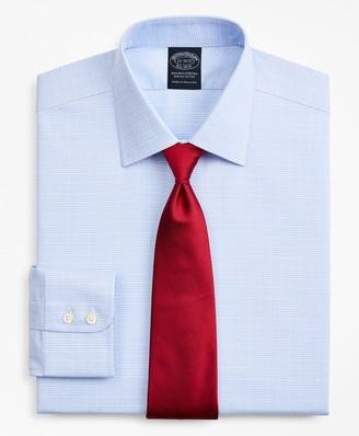 Brooks Brothers Stretch Big & Tall Dress Shirt, Non-Iron Royal Oxford Ainsley Collar Glen Plaid