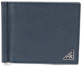 Prada logo grained bifold wallet