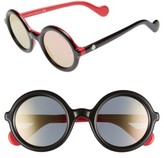 Moncler Women's 50Mm Gradient Lens Round Sunglasses - Black/ Cream/ Smoke Flash