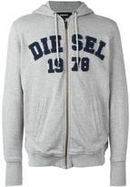 Diesel logo patch zipped hoodie