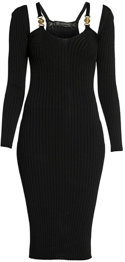 Versace Ribbed Cold-Shoulder Cutout Dress