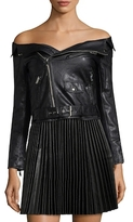 Faux Leather Off-the-Shoulder Jacket