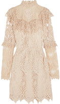 Anna Sui Romantique Ruffled Crocheted Lace Mini Dress - Cream