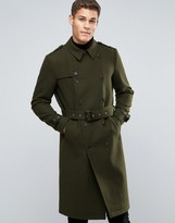 Asos Wool Mix Belted Double Breasted Overcoat In Khaki