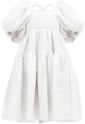 Cecilie Bahnsen Edwig Tie-back Quilted Silk Dress - Womens - White