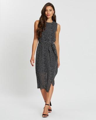 Atmos & Here Eva Mock Wrap Midi Dress