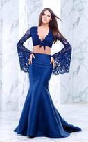 Tarik Ediz Two-Piece Lace V-Neck Dress 50104