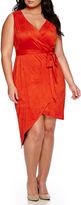 Bisou Bisou Sleeveless Faux Suede Wrap Dress - Plus