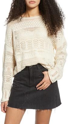 ALL IN FAVOR Crochet Boat Neck Sweater