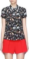 Alice + Olivia 'Willa' ruffle collar animal print silk top