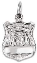 GemAffair Police Badge Charm - 14k White Gold - 11x18.5mm - 1.2gr