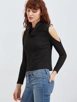 Shein Cowl Neck Open Shoulder Ribbed Knit T-shirt