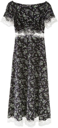 Miu Miu Floral-printed Dress With Lace