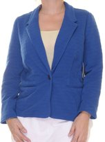 Kensie Womens Ribbed Long Sleeves One-Button Blazer Blue M