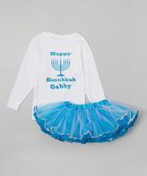 Beary Basics White Hanukkah Personalized Tee & Tutu - Infant, Toddler & Girls