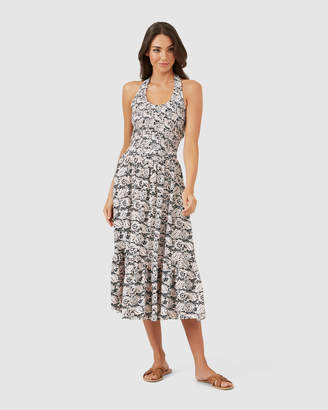 French Connection Shirred Halter Midi Dress