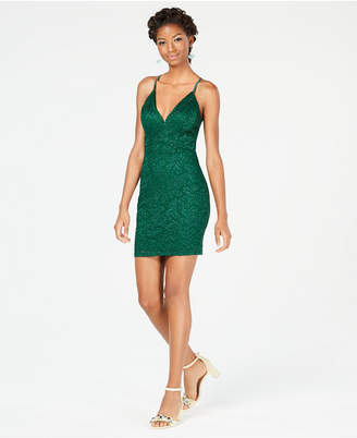 Emerald Sundae Juniors' Glitter Lace Racerback Bodycon Dress
