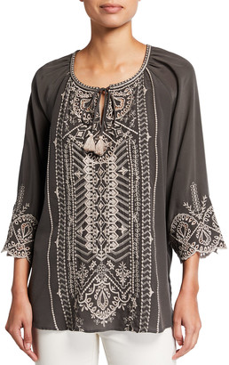 Johnny Was Luana Eyelet Embroidered Tassel-Tie Peasant Blouse