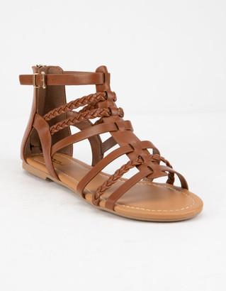 Soda Sunglasses Braid Back Zip Tan Womens Gladiator Sandals