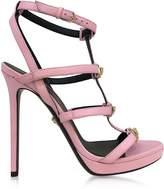 Versace Pink Leather Sandal w/Light Gold Medusa