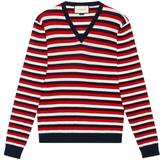 Gucci Striped wool V-neck sweater