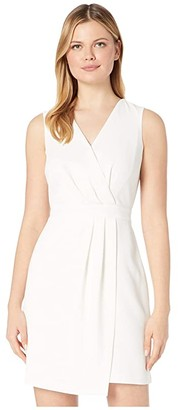 Vince Camuto Sleeveless Parisian Crepe Pleat Front V-Neck Dress (Pearl Ivory) Women's Dress