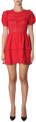 Self-Portrait Knitted Ruffle Detail Mini Dress