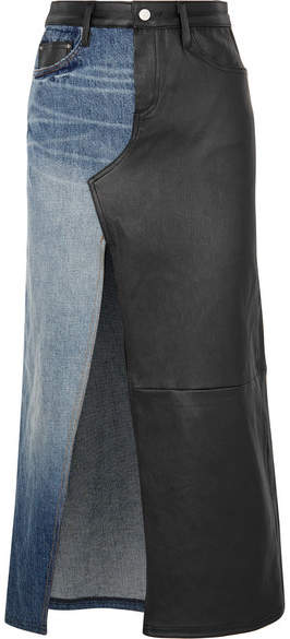 Amiri Asymmetric Denim And Leather Midi Skirt - Black