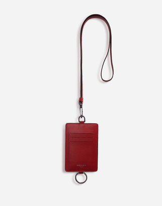 Dolce & Gabbana Calfskin Card Holder With Cross-Body Strap And Logo