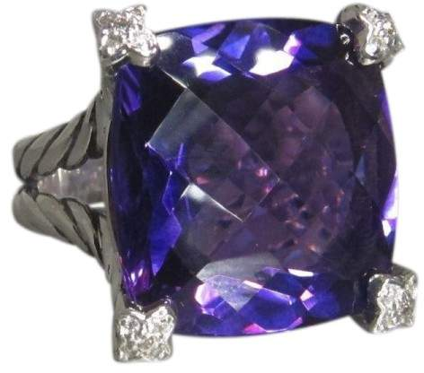 David Yurman 925 Sterling Silver With Amethyst And Diamond Ring Size 6