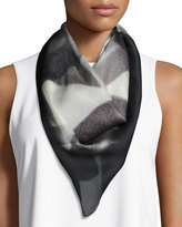 Halston Specular Reflection Square Silk Scarf, Black