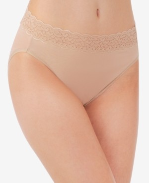 Vanity Fair Flattering Lace Cotton Stretch Hi-Cut Brief Underwear 13395, Extended Sizes