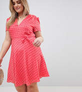 Glamorous Curve Mini Tea Dress With Tie Waist In Ditsy Rose