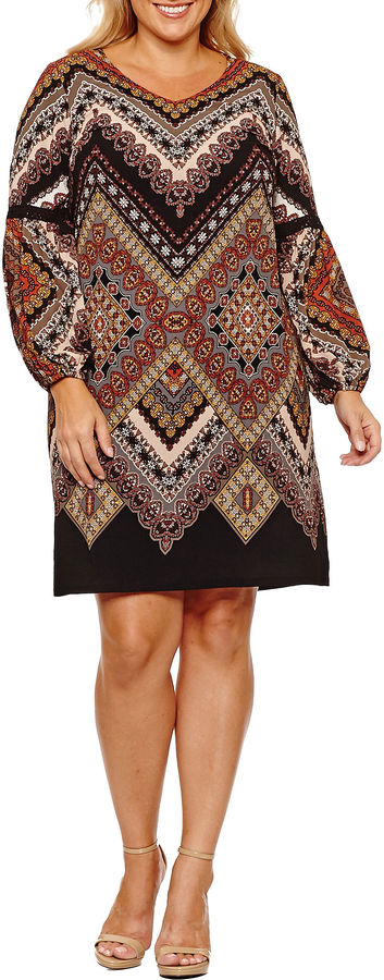 MSK Long Sleeve Geometric Sheath Dress-Plus