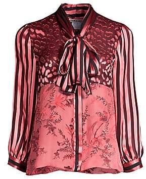 Alice + Olivia Women's Jeannie Sheer Leopard Yoke Stripe Sleeve Tie Neck Blouse