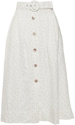Rebecca Vallance Holliday Belted Button-detailed Polka-dot Linen-blend Midi Skirt