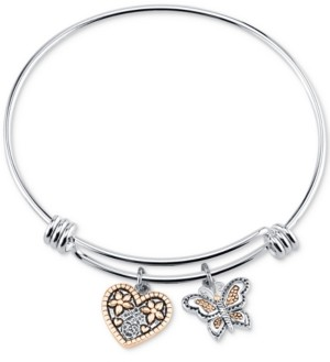 """Unwritten Two-Tone Butterfly and Heart """"Sisters"""" Charm Bangle Bracelet"""