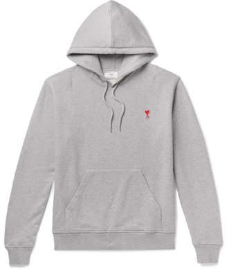Ami Logo-Appliqued Loopback Cotton-Jersey Hoodie