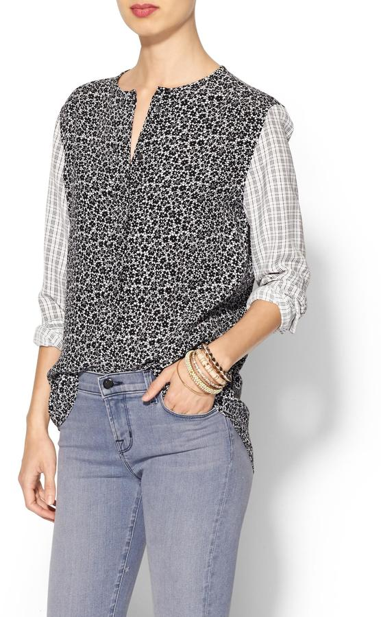 Equipment Lynn Clean Blouse with Contrast