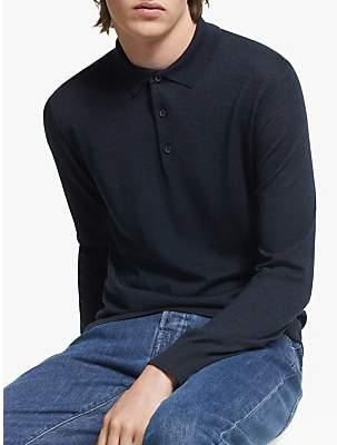 J. Lindeberg Luciano Wool Silk Polo Shirt, JL Navy