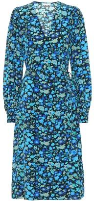Ganni Floral silk-blend midi dress