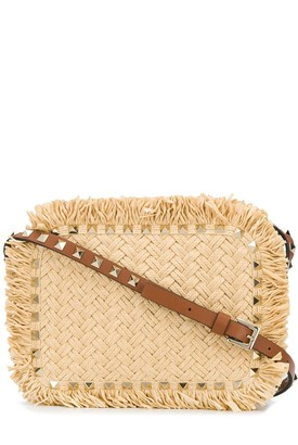 Valentino Rockstud raffia shoulder bag