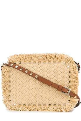Valentino Rockstud raffia shoulder bag