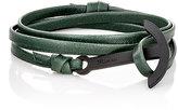 Miansai Men's Modern Anchor On Leather Wrap Bracelet-GREEN
